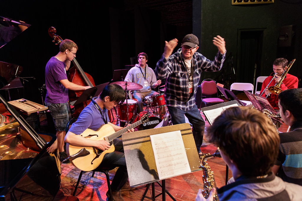 The participant combo coached by drummer Matt Wilson rehearses in Wheeler Theater during the 2013 Port Townsend Jazz Workshop.